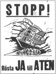 Affisch av Föreningen för Atens bevarande 1973. Foto courtesy Student i Lund