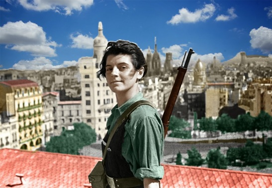 COLORED-A 17-year-old communist militant, Marina Ginesta, stands on the roof of a hotel in Barcelona 1936