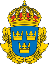 Svenska polisens vapensköld med de fscistiska spöknippena, fasces, väl synliga
