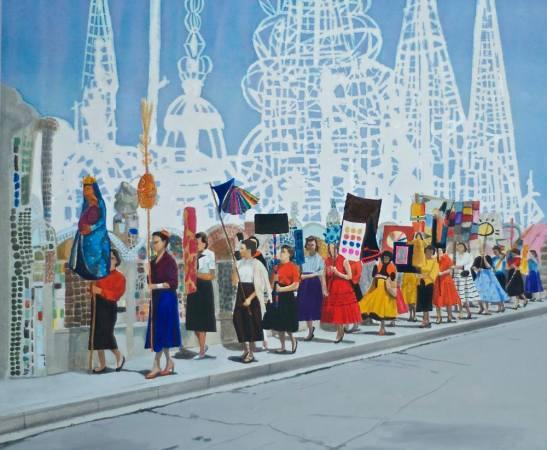procession-vid-Watts-tower-1957