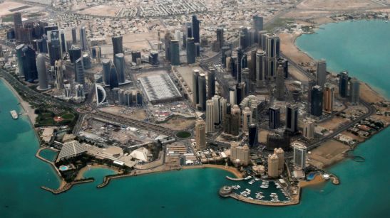 FILE PHOTO - An aerial view of Doha's diplomatic area